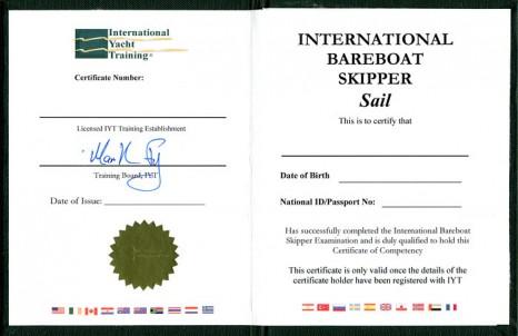IYT Bareboat Skipper - диплом яхтенного капитана