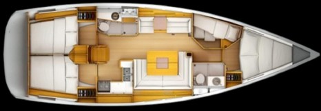 Jeanneau Sun Odyssey 439 план внутреннего пространства