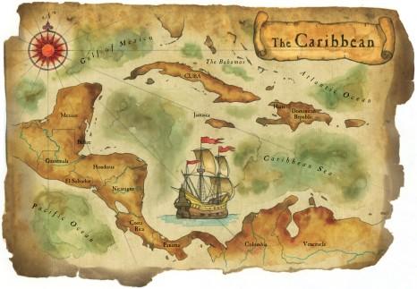 карта Карибского моря