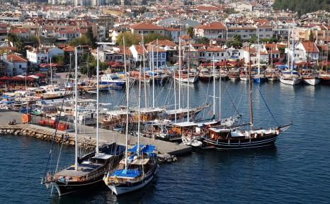 Marmaris harbor aerial view, Muğla Province, southwest Turkey, Mediterranean.