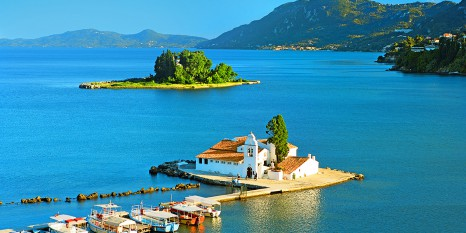 The convent of Panaghia Vlaherna and the Mouse Island, Corfu, Io