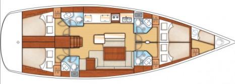 Beneteau Oceanis 50 план внутреннего пространства