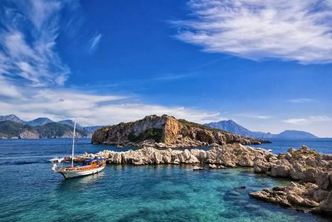 Lagoon with yacht, Turkey