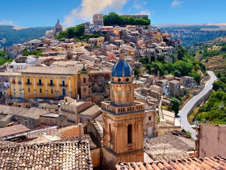 Santa Maria delli'Idria in the foreground and Ragusa Ibla Sicily behind