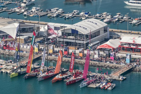 January 02, 2015. Boats about to dock out for the InPort Race in Abu Dhabi.